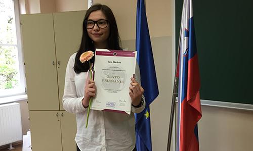 Sara Škerban, zlato priznanje na Državnem tekmovanju v znanju nemškega jezika (2018/2019)