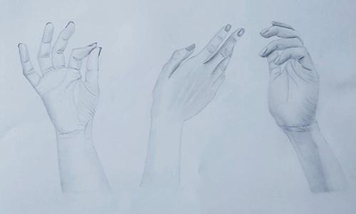 Študija dlani, risba